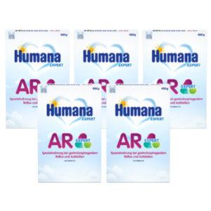 Humana Spezialnahrung Anti Reflux AR Expert bei Rückfluss und wiederholtem Aufstoßen von Speisebrei 5 x 400 g von der Geburt