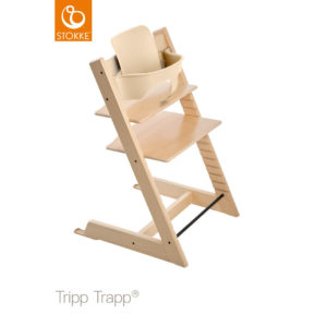 STOKKE® Tripp Trapp® Hochstuhl inkl. Baby Set Buche natur + Gratis Tray weiß