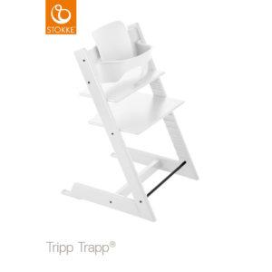 STOKKE® Tripp Trapp® Hochstuhl inkl. Baby Set Buche weiß + Gratis Tray weiß