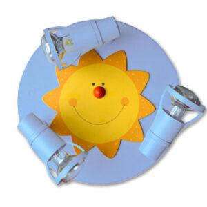 WALDI Deckenrondell Sonne, hellblau 3-flg., R50 max. 3x9W/E14