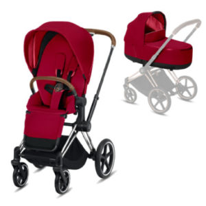 cybex PLATINUM Kombikinderwagen Priam Chrome Braun/True Red