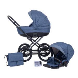 knorr-baby Kombikinderwagen Kreta 9-teiliges Set Blau mit Punkten