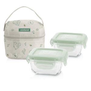 miniland pack-2-go naturSquare mit Isoliertasche grün